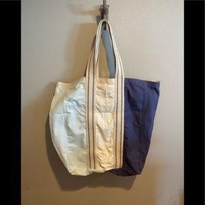 WestElm Market Divided XL Laundry Tote Blue Combo